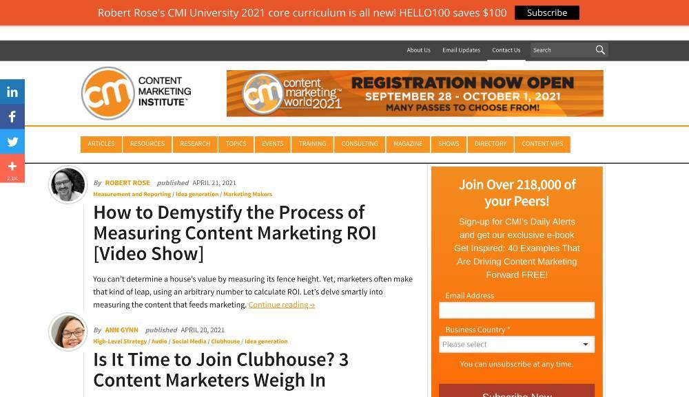 content marketing institute blog marketing examples