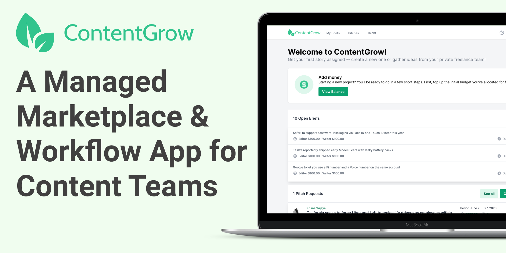 hire freelance writers and journalists on ContentGrow