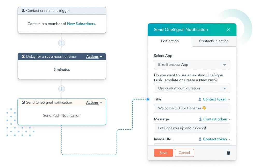 HubSpot users can automate push notifications with OneSignal integration.