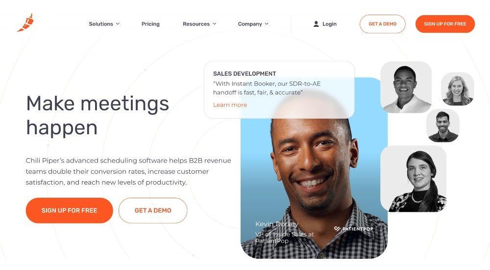 meeting scheduler startup Chili Piper website