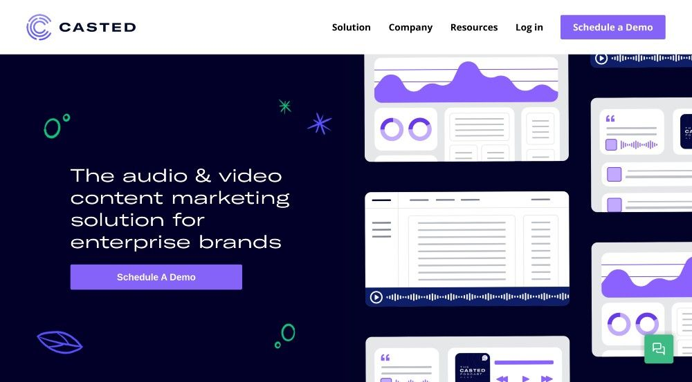 B2B podcast tool Casted website