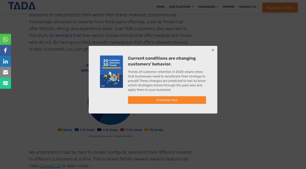 TADA customer retention loyalty platform popups