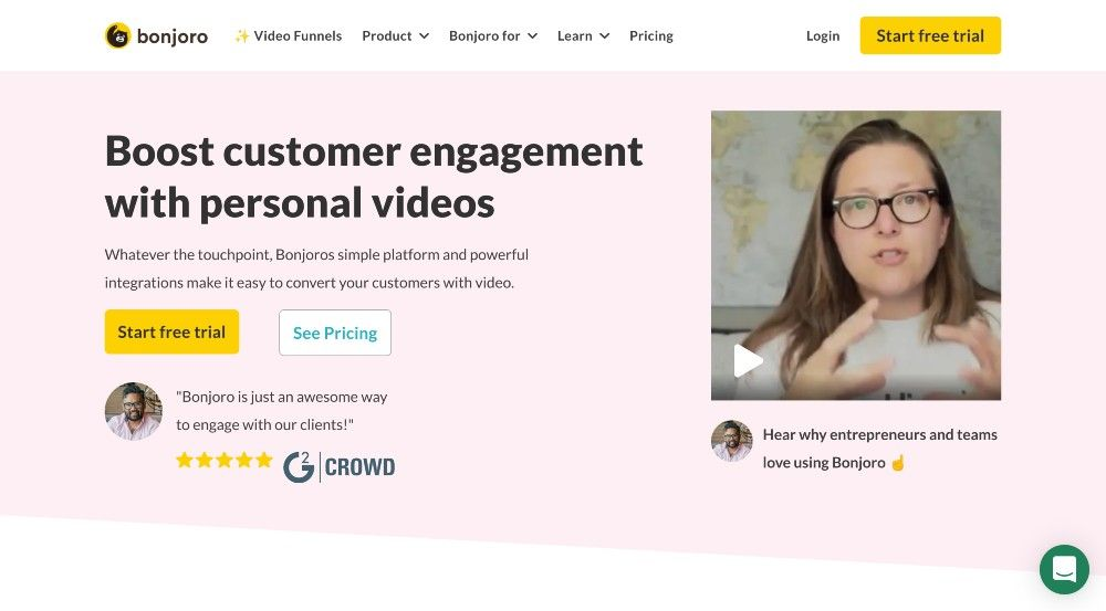 bonjoro website personalized video email app