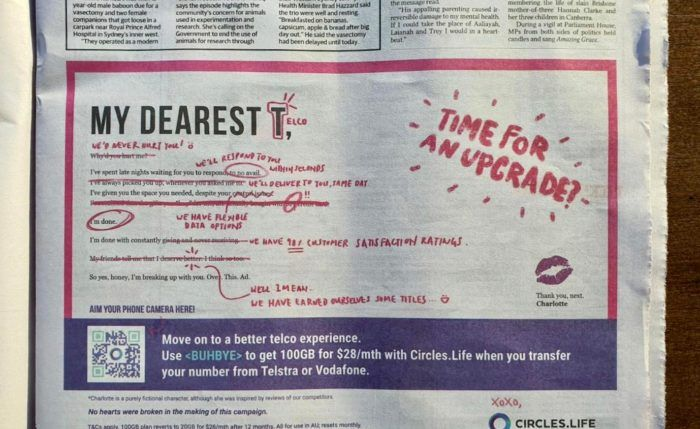 viral marketing campaign - circles life australia ad lover charlotte