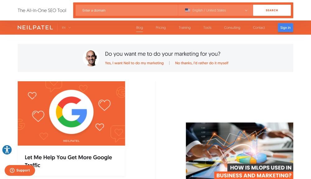 neilpatel.com - blog marketing examples