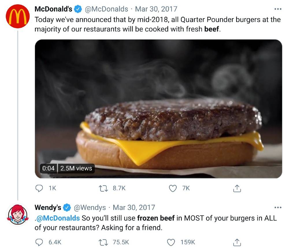 content marketing examples - wendy's twitter roasts