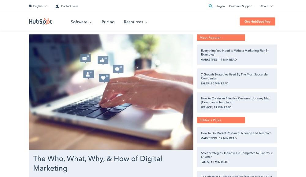 hubspot blog - b2b content marketing examples